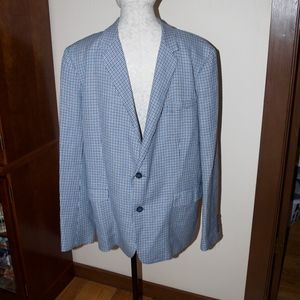 Mr. Turk Blue Black Herringbone Blazer Jacket 46